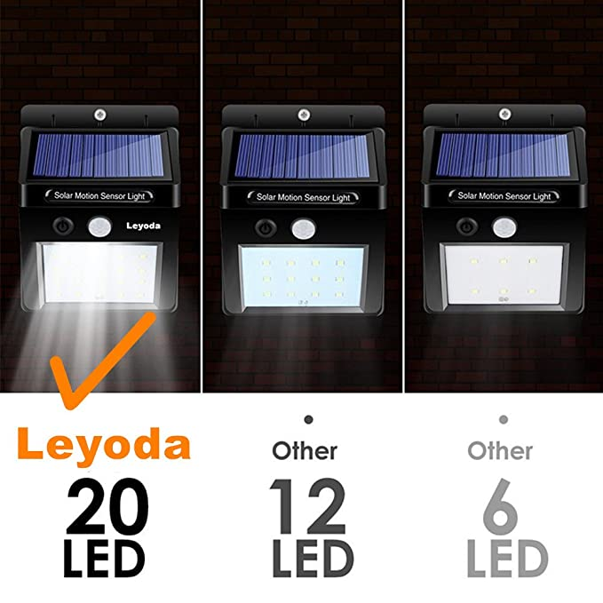 Solar Light 2 PACK 20 LED Sensor de Movimiento Wall Light, Luces de Noche Seguridad brillante Auto On/Off, Impermeable Inalámbrico Proyector de energía ...