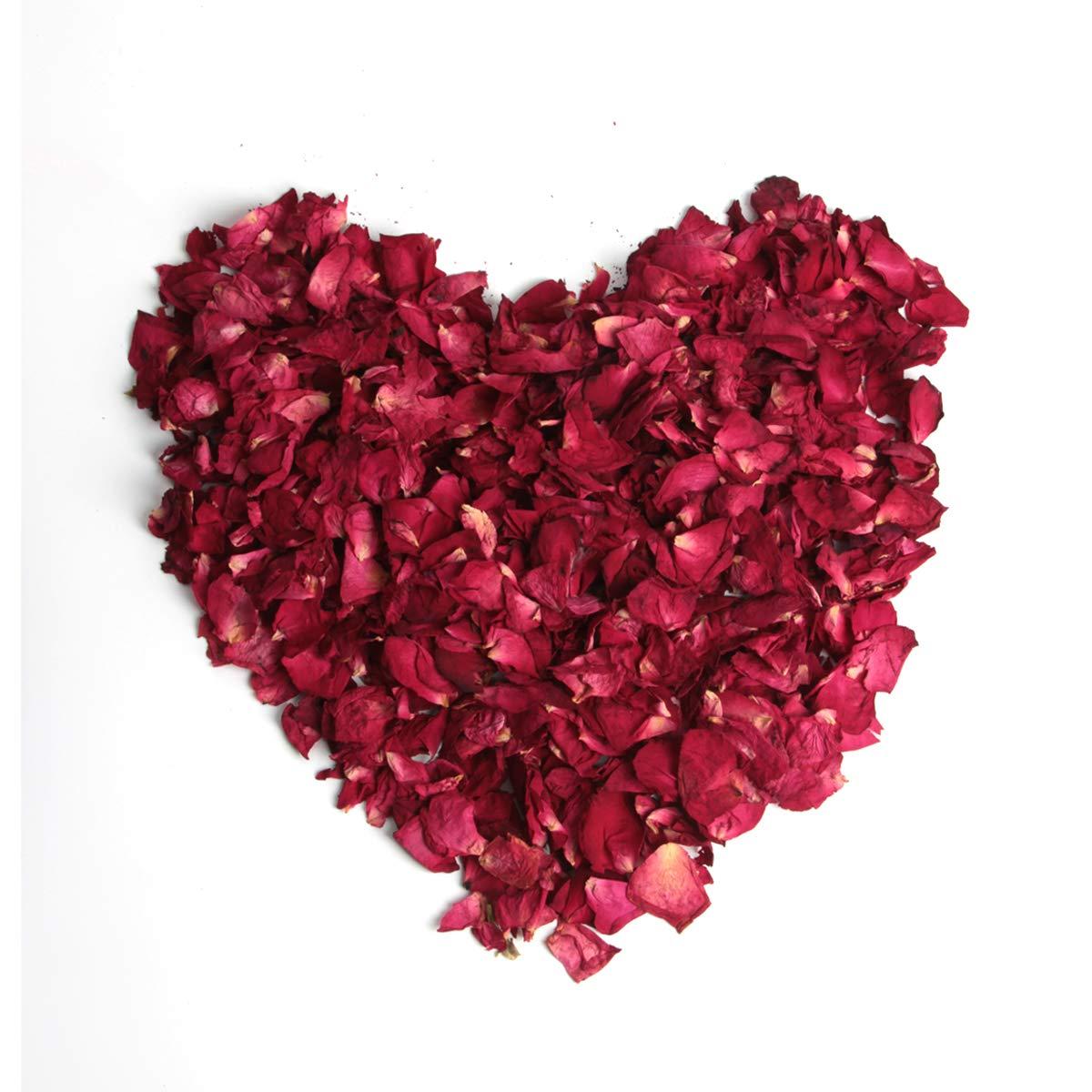 yalansmaiP 150 Grams Dried Rose Petals Red - Real Flower Rose Petal for Bath, Foot Bath, Sachets, Crafting, Wedding Confetti, DIY Accessories