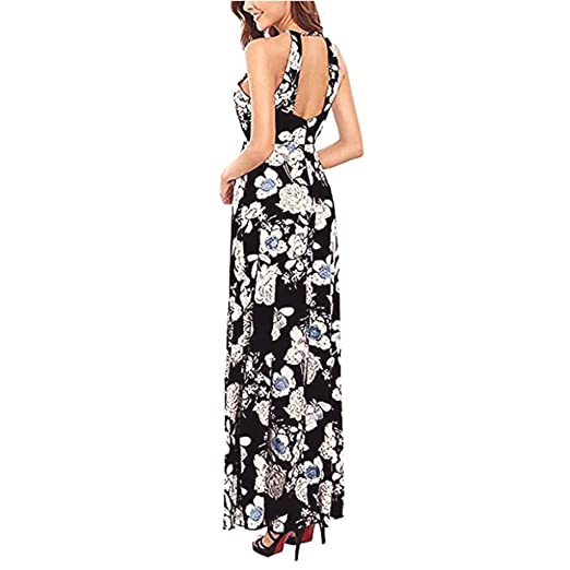 5a76cdad1a Women Summer Boho Long Maxi Dress Evening Party Beach Halter Empire  Sundress Zulmaliu at Amazon Women s Clothing store