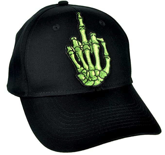 316fb49692f Image Unavailable. Image not available for. Color  Skeleton Hand Middle  Finger Hat Baseball Cap Skater Thrasher Clothing