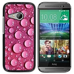 KOKO CASE / HTC ONE MINI 2 / M8 MINI / burbujas de puntos de agua de color rosa diseño de papel tapiz / Delgado Negro Plástico caso cubierta Shell Armor Funda Case Cover