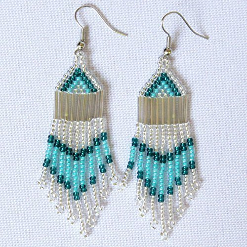 African Zulu beaded earrings - Chandelier NEW DESIGN - Silver and aqua - Gift for (New Fair Trade Handmade Art)