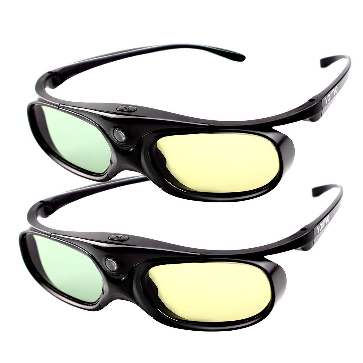 DLP LINK 144 Hz Ultra-Clear HD 3D Glasses,Vamvo Active Rechargeable 3D Shutter Glasses for All 3D DLP Projectors - BenQ, Optoma, Dell, Mitsubishi, Samsung, Acer, Vivitek, NEC, Sharp, ViewSonic & Endle