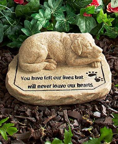 Pet Memorial Stones Cold Cast Ceramic Memorial Garden Backyard Flowers Greenery (Dog) ()