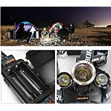 New Boruit 6000lm 3x Cree Xm-l T6 LED Rechargeable Headlamp Headlight Head Torch Light Lamp Only Black