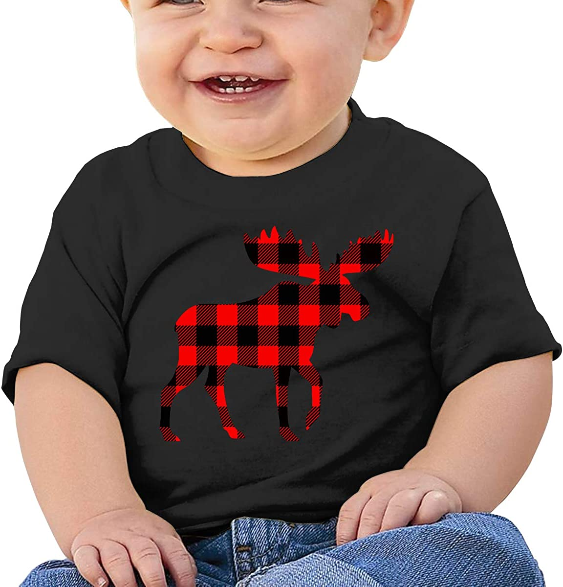 Red Buffalo Plaid Moose Newborn Baby Short Sleeve Crew Neck T Shirts 6-18 Month Tops