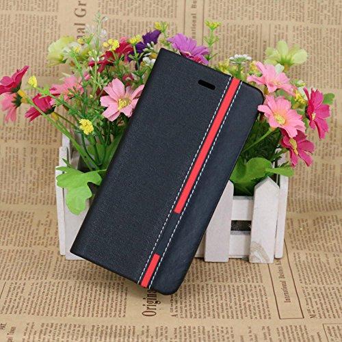 La caja del filtro soporte de la carpeta colores mezclados Caso superior del cuero de la PU con el soporte para teléfono titular de la tarjeta Negro