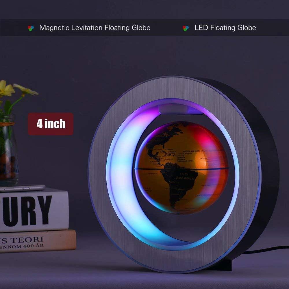 Shenfan Globo a levitazione Magnetica Globo Galleggiante Magnetico Mappa del Mondo Cornice Circolare con LED Colorati Decorazioni per la casa Ornamenti 4 Pollici