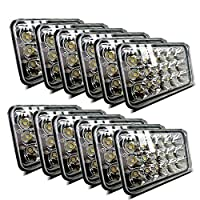 (12pcs) Dot approved 4x6 inch LED Headlights Rectangular Replacement H4651 H4652 H4656 H4666 H6545 for Peterbil Kenworth Freightinger Ford Probe Chevrolet Oldsmobile Cutlass