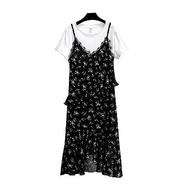 Vestidos De Las Mujeres Negro Vestido De Gasa Floral De Verano Vintage Dos Piezas Falda Larga