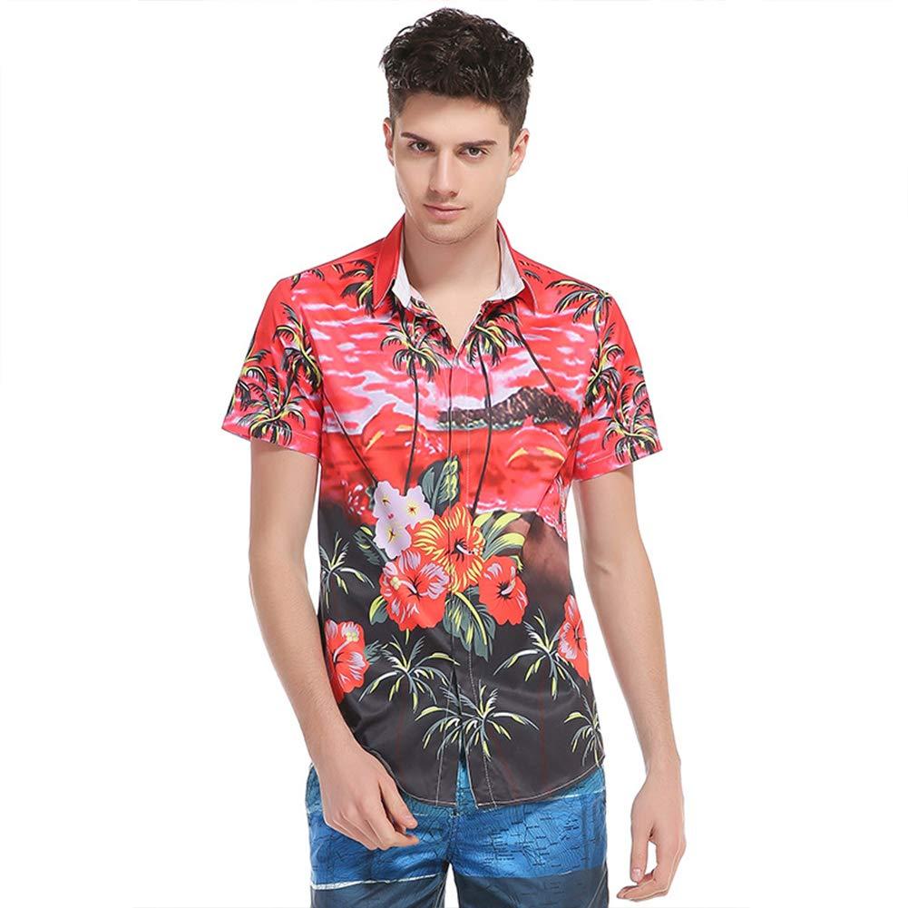 RONSHIN Men 3D Printing Beach Print Slim-fit Short Sleeve Shirts