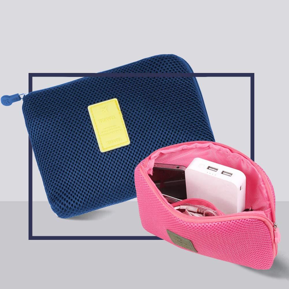 Wmaple Embalaje Cubos para Maleta de Viaje Organizador de Equipaje Tel/éfono Cosm/éticos Bolsa de Almacenamiento Azul Marino 13 16cm