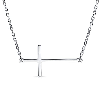Bling jewelry sideways cross pendant sterling silver necklace 16 bling jewelry sideways cross pendant sterling silver necklace 16 inches mozeypictures Images
