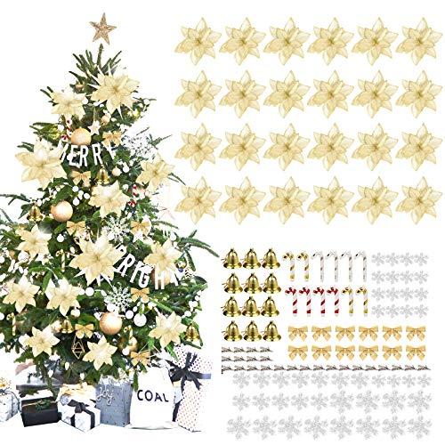 MMTX 120 Adorno de Árbol de Navidad, Flores Artificiales de Navidad Copos de Nieve, Lazos, Campanas, Bastones pequeños para Decoraciones de árboles de Navidad, Dorado