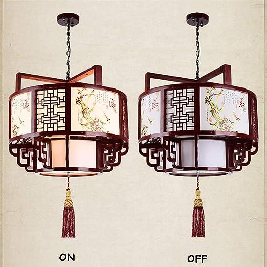 Amazon.com: Lámpara de araña china de madera antigua, para ...