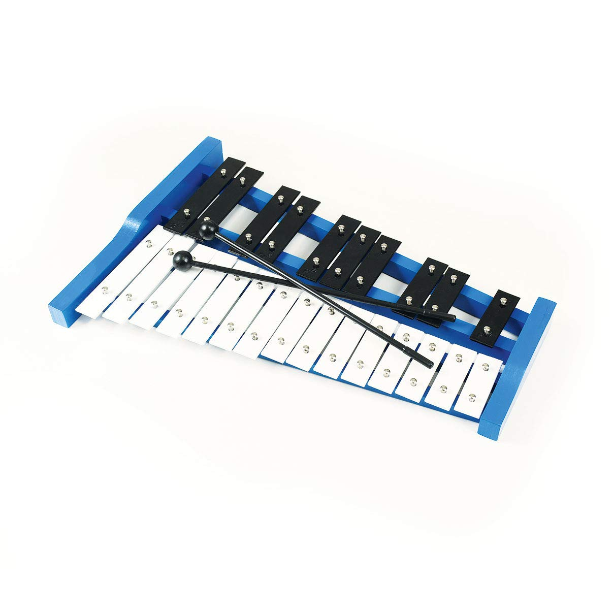 Professional Blue Wooden Soprano Glockenspiel Xylophone with 25 Metal Keys for Adults and Kids - Includes 2 Plastic Beaters by Cara & Co