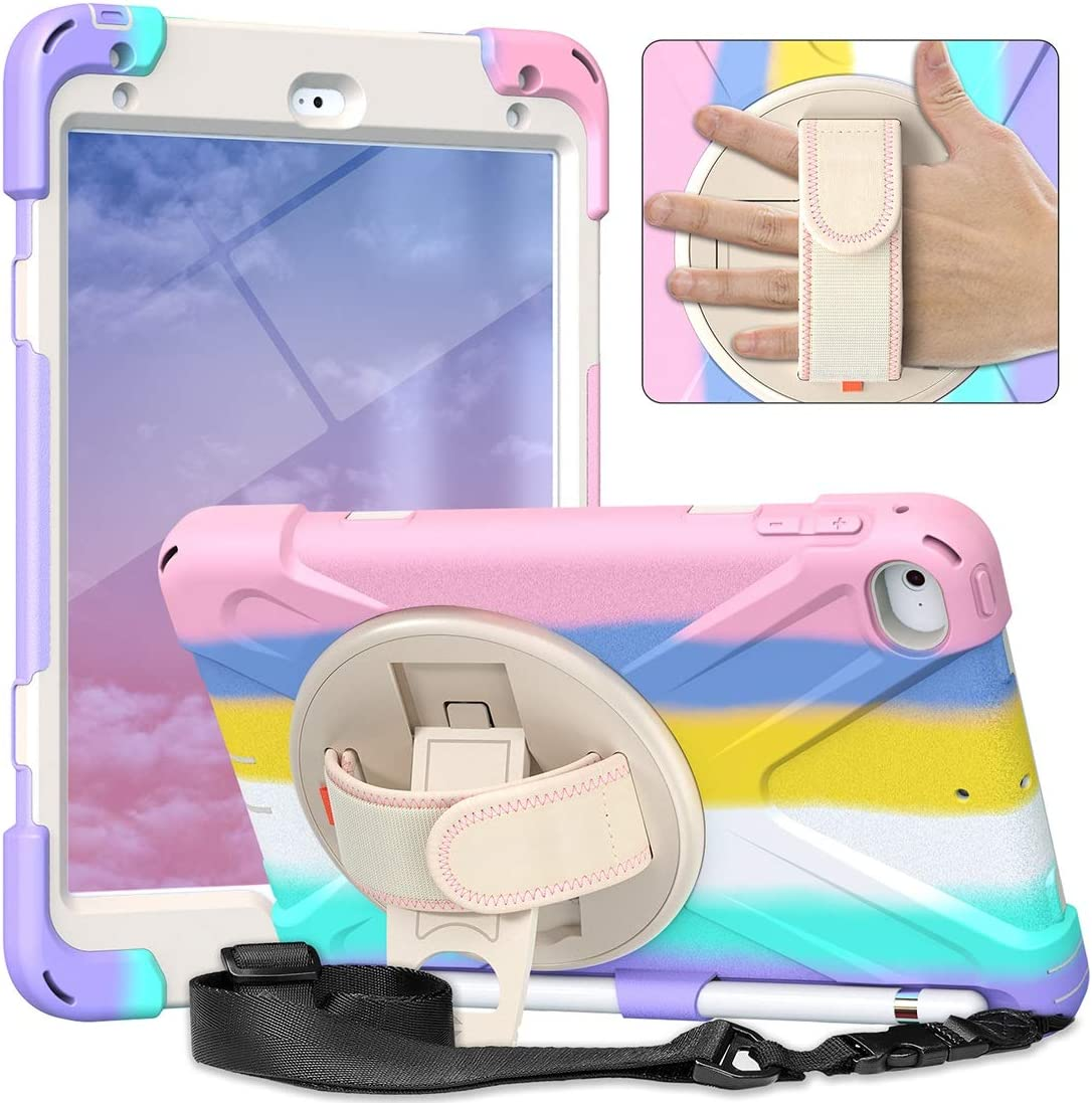 SZCINSEN Series Three-in-one Shatter-Resistant Shell for iPad Mini4/Mini5, Drop-Proof, Dust-Proof, Shock-Proof,360 Degree Rotating Multi-Function Grip Bracket (Color : Ice Cream Color)