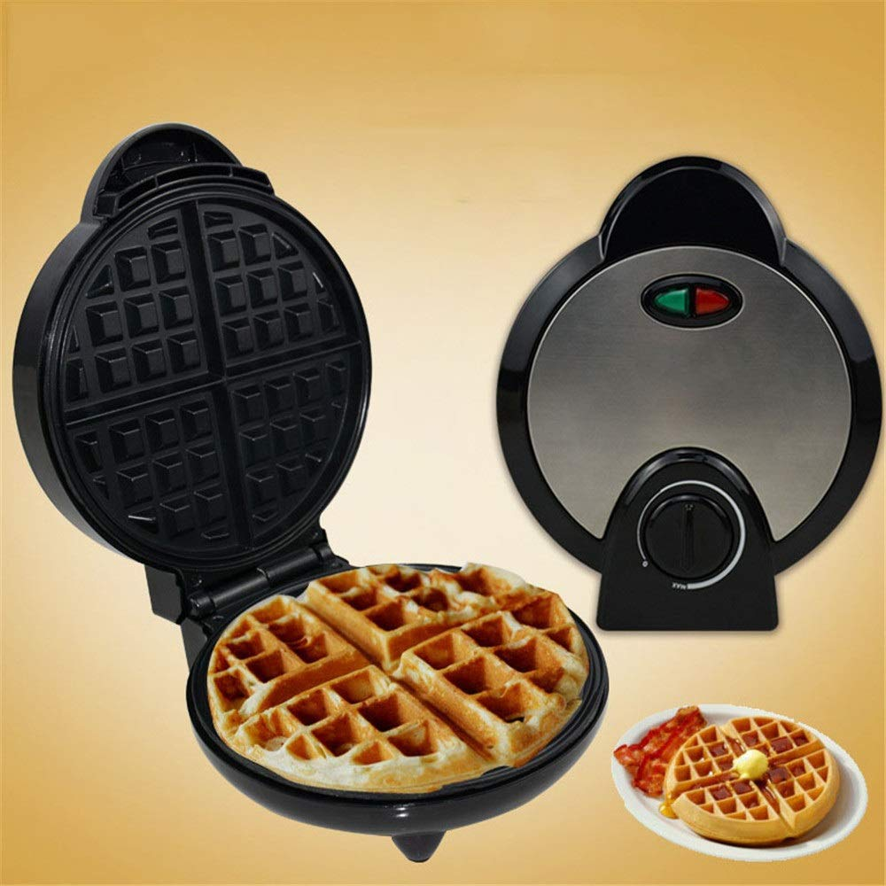 Crepe Maker 4 Slice Waffle Maker Grill Iron With Adjustable Temperature Control 1200W Electric Non-Stick (Color : Black, Size : 25x20x9cm) by DEPRQ