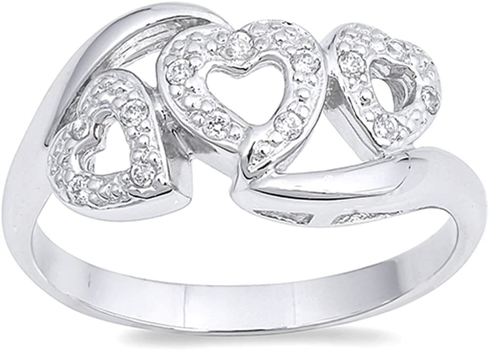 Heart Halo Promise Ring New .925 Sterling Silver Band