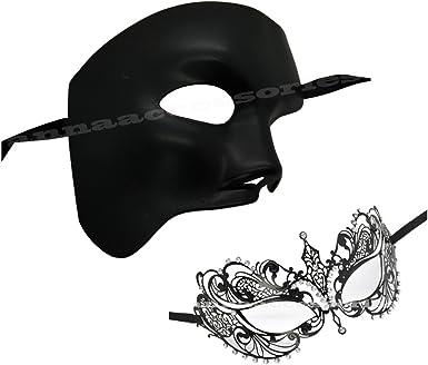 Prom Party Couple Venetian Metal White Plastic Men /& Women Masquerade Mask