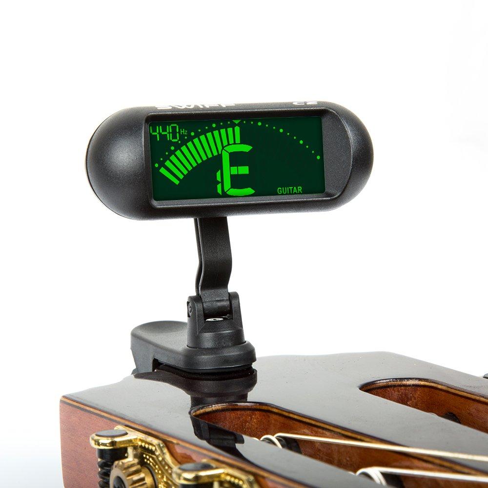 Swiff professionale Accordatore per Chitarra, Ukulele Basso e Violino con ampio display Swiff Technologies