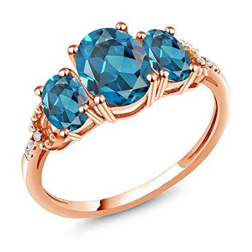 Gem Stone King 2.34 Ct Oval London Blue Topaz 10K Rose Gold Diamond Accent Ring