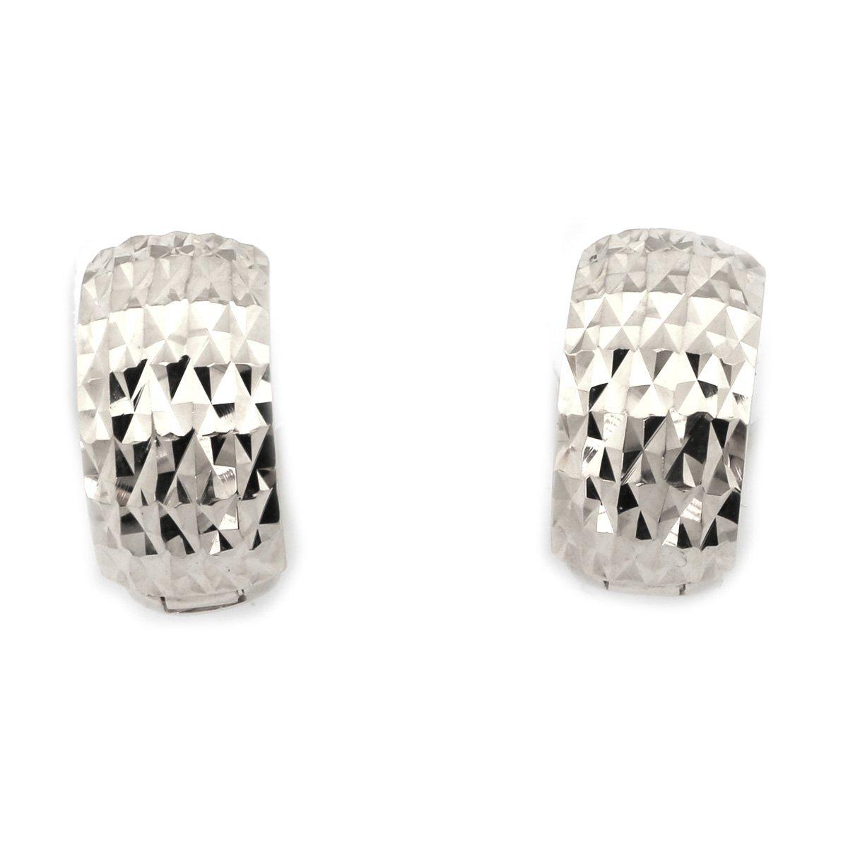 14k White Gold 7mm Thick Diamond Cut Huggie Earrings