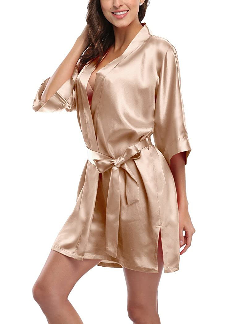 73607940de Women s Short Satin Kimono Robes Pure Color Sleepwear Bathrobe for Wedding  Party at Amazon Women s Clothing store