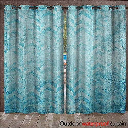 WilliamsDecor Turquoise Home Patio Outdoor Curtain Geometric Design Chevron Patterns on Old Vintage Paper Contemporary Art Print W84 x L108(214cm x 274cm)