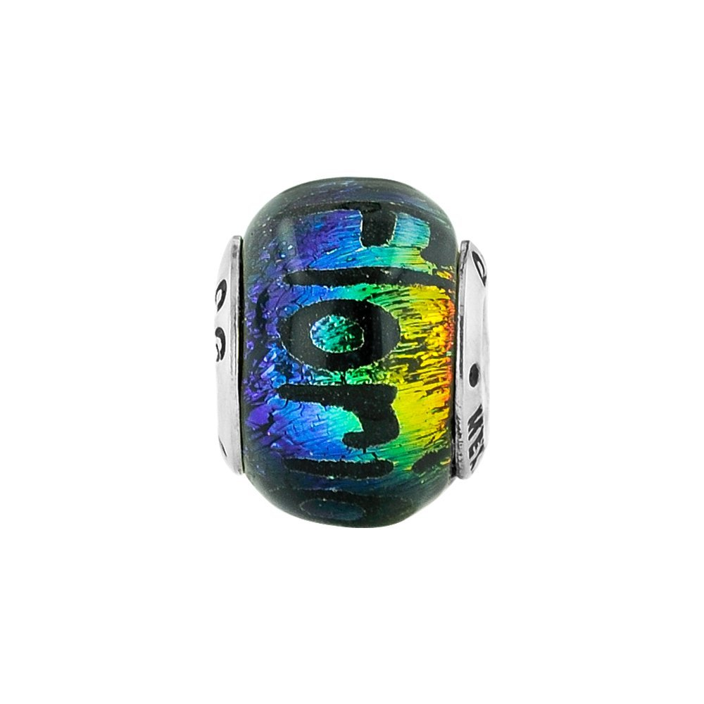 Jewel Tie 925 Sterling Silver Reflections Florida Dichroic Glass Bead 9.1mm x 12.7mm