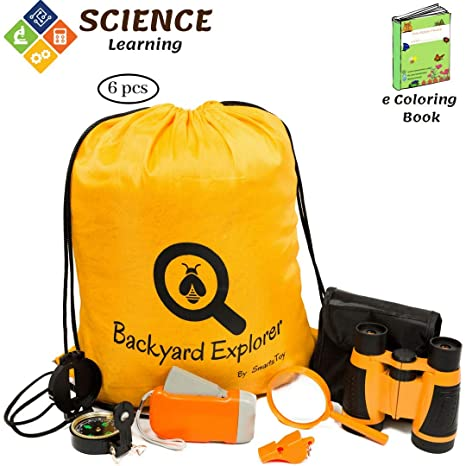 Kids Outdoor Explorer Kit with Binoculars, Flashlight, Compass, Whistle,  Magnifying Glass, 25579df5f5