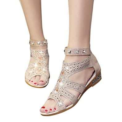 37d29540c43e Women Wedges Sandals Fashion Crystal Rhinestone Hollow Out Peep Toe Low  Heeled Shoes Roma Shoes Beige