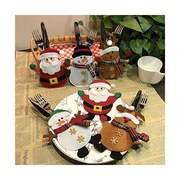Hopeas 6pcs Portaposate Natalizie,Decorazione per Tavolo di Natale Babbo Pupazzo di Neve alci Natale Tasche Posate 2 spesavip