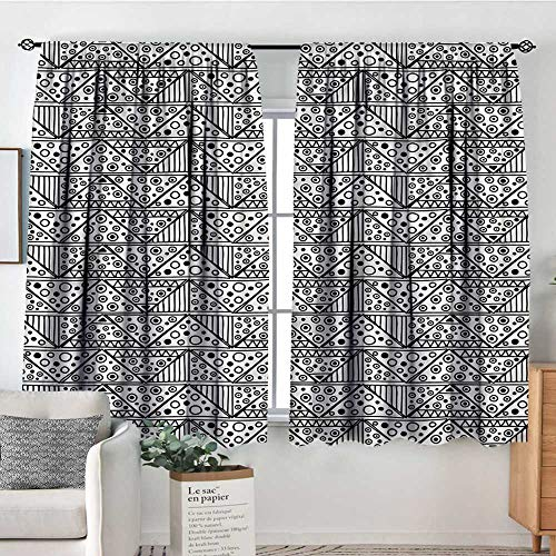 RenteriaDecor Black and White,Door Curtains Ethnic Triangle 52