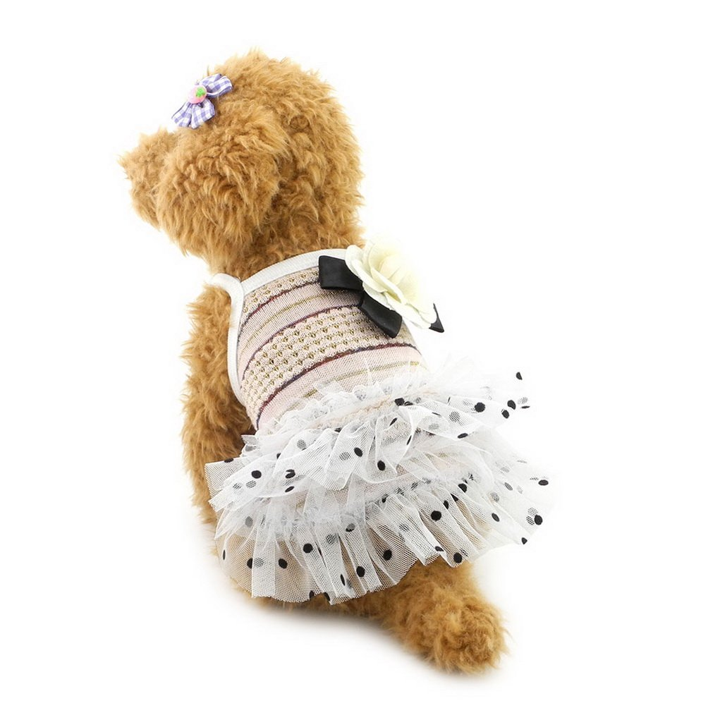 SELMAI Pet Tutu Dot Dress for Small Toy Dogs Halter Skirt Summer Doggy Clothes Pet Apprael Pink L