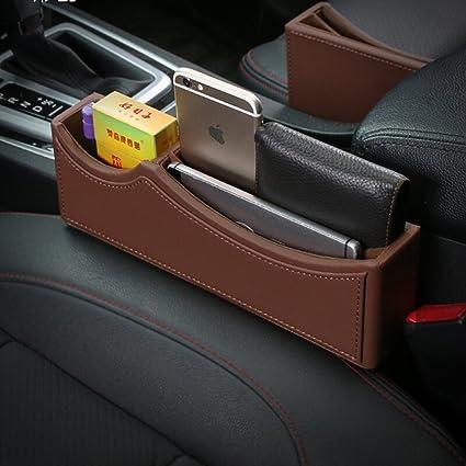 High Class PU Leather Car Seat Gap FillerCar Catcher Organizer Saddle Brown
