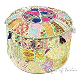 Eyes of India - 22 X 12 Green Patchwork Round Pouf Pouffe Ottoman Cover Floor Seating Bohemian Boho Indian