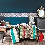 Boho Style Duvet Cover Set Colorful Paisley Sheet Sets 3pcs Full Size Pattern4
