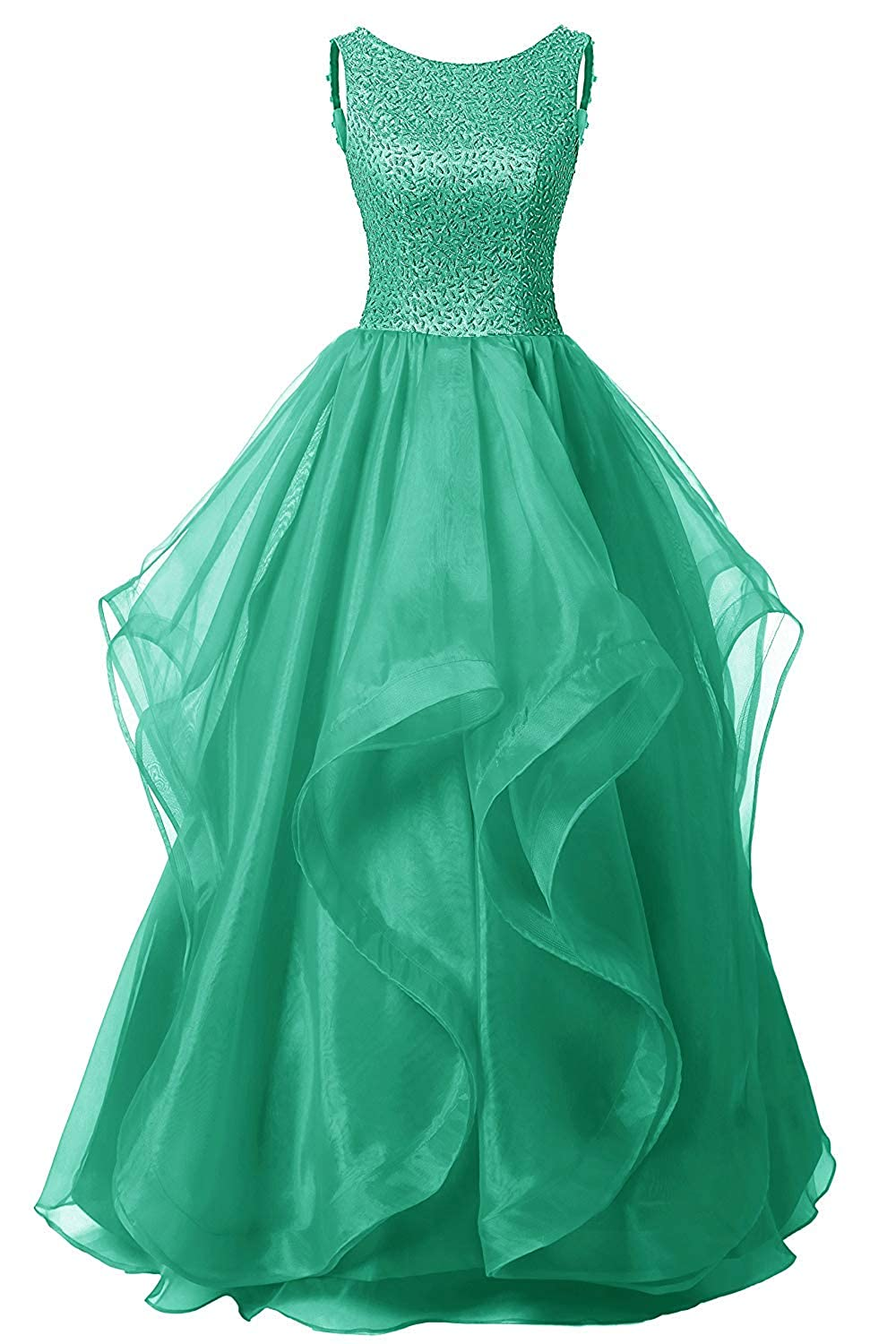 Green Uther Long Formal Evening Prom Dress Organza Bridesmaid Dresses Beaded Gown
