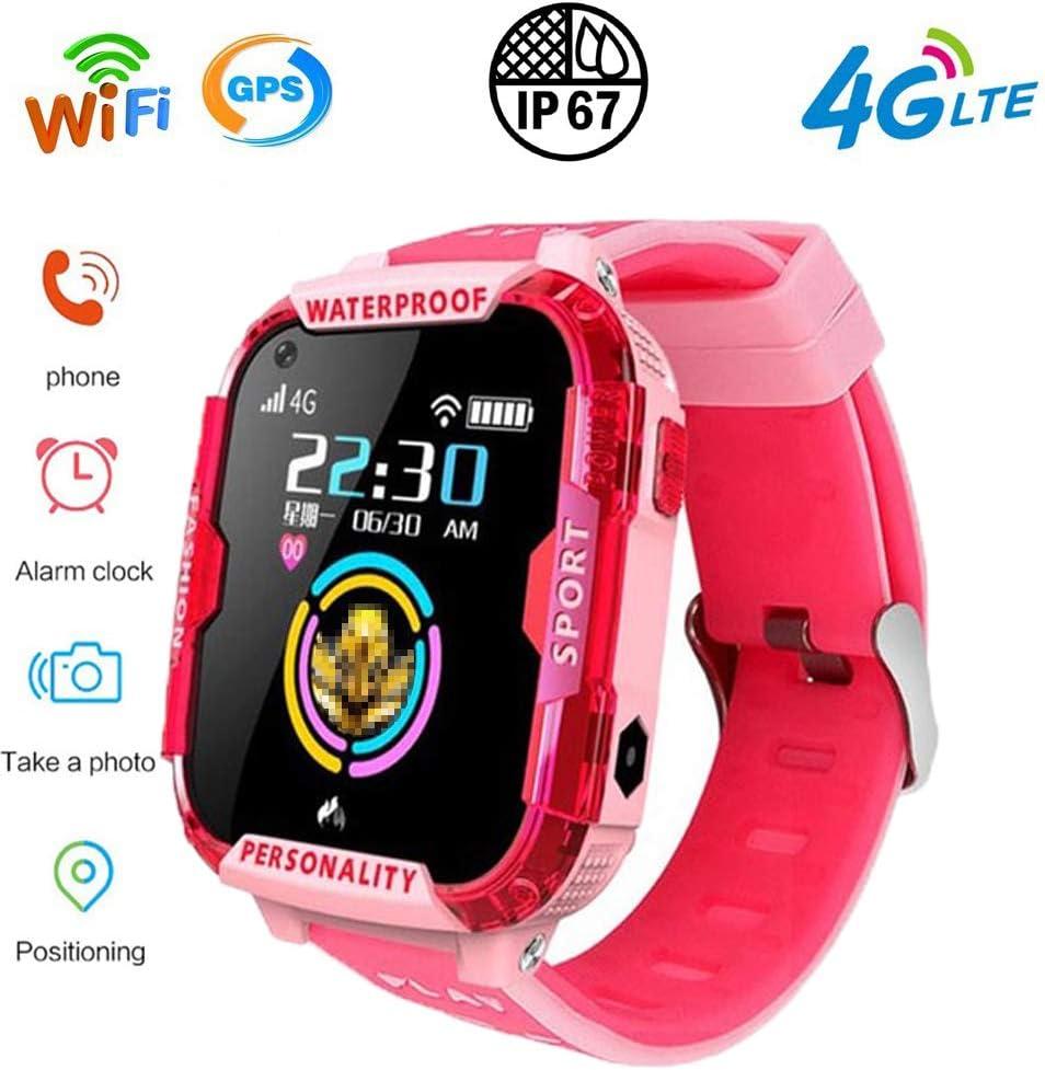 PUKEFNU Relojes Inteligentes para niños 4G WiFi GPS a Prueba de Agua Deportes de Smart Watch SOS de Seguimiento de localización Al Robot de Voz Linterna Anti-perdida HD para Android y el iOS,PK