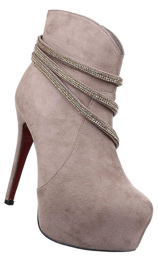 Damen Stiefeletten Schuhe Strass Besetzte High Heels Schwarz braun braun braun 36 37 38 39 40 41 3ae194