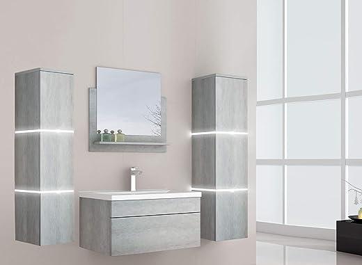 Home Deluxe - Badmöbel-Set - Wangerooge Grau - inkl. Waschbecken und komplettem Zubehör - Verschiedene Größen (Small) 1