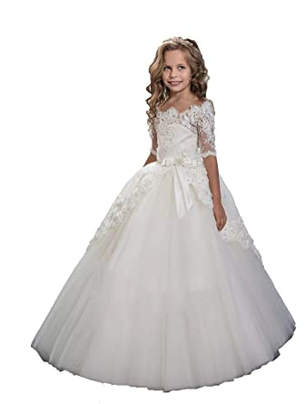 894baf759a8b Amazon.com  Lace Flower Girls Dress Cap Sleeve Floor Length Party Pageant  Ball Gown  Clothing