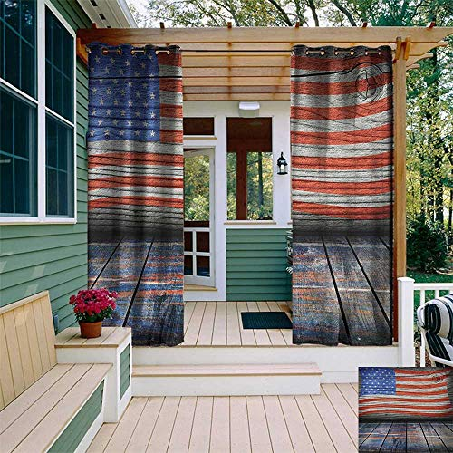 (USA, Outdoor Curtain Pole, Fourth of July Independence Day Wooden Rustic Floor Log View Wall Rippled Image, Outdoor Curtain Set for Patio Waterproof W96 x L108 Inch Blue Red Umber)
