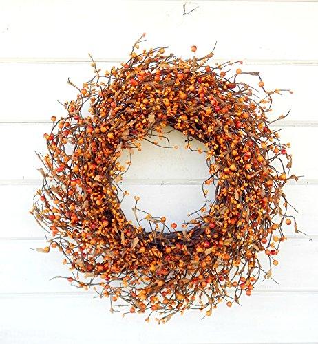 Fall Wreath, Fall Door Wreath, Orange Wreath, Autumn