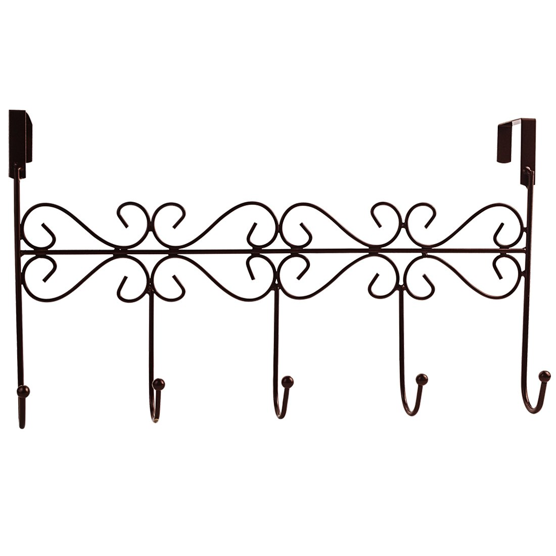 obmwang Over The Door 5 Hook Rack Decorative Organizer Hooks for Clothes Coat Hat Belt Towels Stylish Over Door Hanger for Home or Office Use L x W x H 15 x 2 x 9 Inch