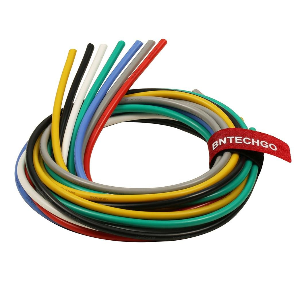 Gauge Black Battery Cable 100 Ft Wiring Products Bntechgo 12 Silicone Wire Kit Ultra Flexible 7 Color High Resistant 600v 200 Deg C Rubber Insulation Awg 680