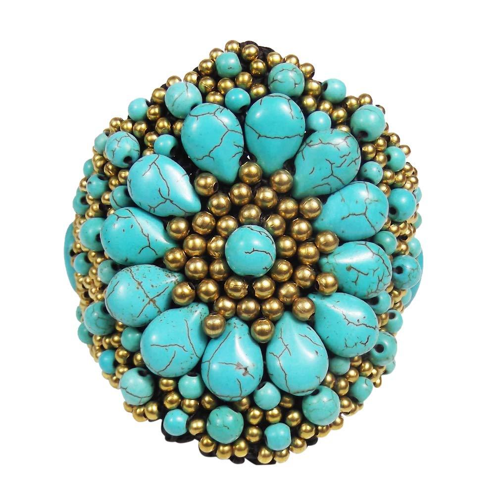AeraVida Festive Chrysanthemum Simulated Turquoise Floral Link Bracelet