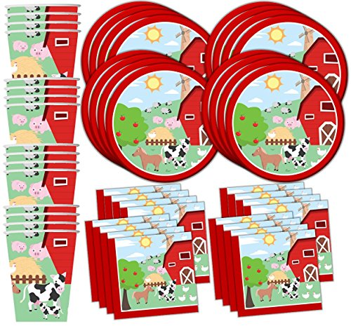 Farm Animals Party Supplies (Barnyard Farm Animals Birthday Party Supplies Set Plates Napkins Cups Tableware Kit for 16)