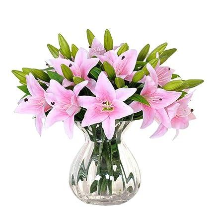 Amazon pretty artificial flowers 5pcs new silk flower pretty artificial flowers 5pcs new silk flower artificial lilies bouquet 3 heads home wedding floral mightylinksfo